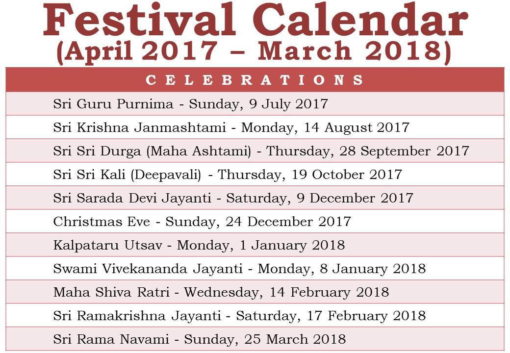 Festival Calendar – RAMAKRISHNA MISSION
